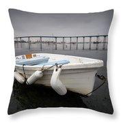 Cloudy Coronado Island Boat Throw Pillow