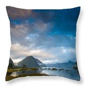 Cloudy Morning At Milford Sound At Sunrise Throw Pillow