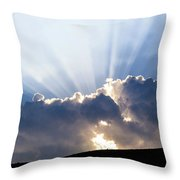 Cloudy Sky Over Mountains Silhouette At Sunset Throw Pillow