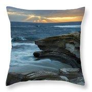 Cloudy Sunset At La Jolla Shores Beach Throw Pillow