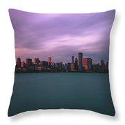 Cloudy Sunset Chicago Skyline Throw Pillow