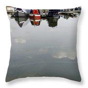 Cloudy Water At Barton Marina Throw Pillow