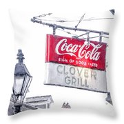 Clover Grill Coke Sign Throw Pillow