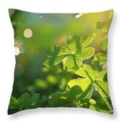 Clover Leaf In Garden, Macro Throw Pillow