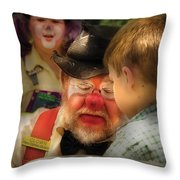 Clown - Face Painting Throw Pillow by Mike Savad