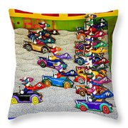 Clown Car Racing Game Throw Pillow