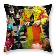 Clown Entertaining Kids Throw Pillow