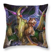 Clown Ghosts Play In A Graveyard Throw Pillow