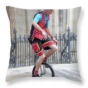 Clown Riding Unicycle In Town Throw Pillow