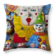 Clown Toys Throw Pillow by Garry Gay