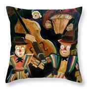 Clowns Throw Pillow by Pol Ledent