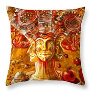 Clowns With Sunflowers Throw Pillow