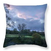 The Evening Is Fallen Over The Meadow Colouring The Sky Pink And Blue. Throw Pillow
