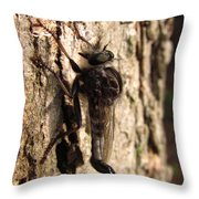 Club Tailed Robber Fly Throw Pillow