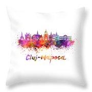 Cluj-napoca Skyline In Watercolor Splatter Throw Pillow