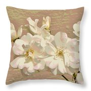 Cluster Of White Roses Posterized Throw Pillow