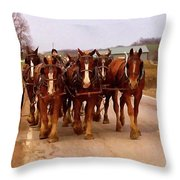 Clydesdale Amish Plow Team Throw Pillow