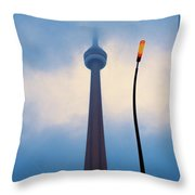 Cn Tower In Toronto With Red Streetlamp Throw Pillow