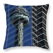 Cn Tower Reflected In A Glass Highrise Throw Pillow