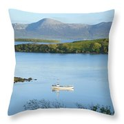 Co Mayo, Ireland Fishing Boat In Clew Throw Pillow