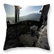 Co-pilot Flying A Ch-47 Chinook Throw Pillow