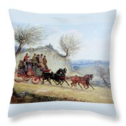 Coaching Oil Of A Royal Mail Coach Crossing Landscape Throw Pillow