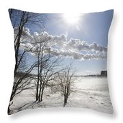Coal Fired Power Plant In Winter Throw Pillow