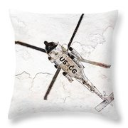 Coast Guard Helicopter Throw Pillow by Aaron Berg