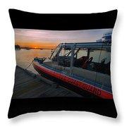 Coast Guard Response Boat At Sunset Throw Pillow