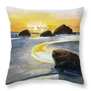 Coast Of Brandon, Oregon Throw Pillow