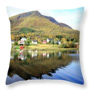 Coast Of Norway Reflections Throw Pillow