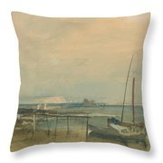 Coast Scene With White Cliffs And Boats On Shore Throw Pillow