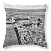 Coast - Whitby Harbour Throw Pillow