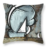 Coastal Art Contemporary Sailboat Painting Whimsical Design Silver Sea I By Madart Throw Pillow