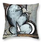 Coastal Art Contemporary Sailboat Painting Whimsical Design Silver Sea II By Madart Throw Pillow