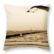 Coastal Bird In Flight Throw Pillow