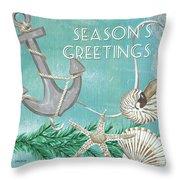 Coastal Christmas 4 Throw Pillow