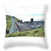Coastal Cottage Nestled In Sunshine Throw Pillow