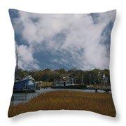 Coastal Island Town Throw Pillow