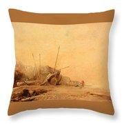 Coastal Landscape With Fisherfolk Throw Pillow