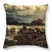 Coastal Landscape With Ships On The Horizon Throw Pillow