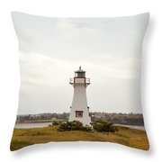 Coastal Lighhouse In Marshes, Prince Edward Island, Canada Throw Pillow