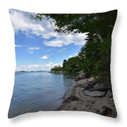 Coastal Maine's Rocky Shore On A Beautiful Summer Day Throw Pillow