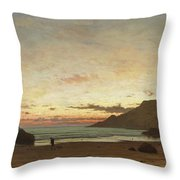 Coastal Scene With A Man And A Dog Throw Pillow