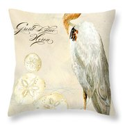 Coastal Waterways - Great Blue Heron Throw Pillow
