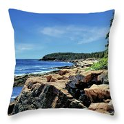 Coastline And Otter Cliff 1 Throw Pillow