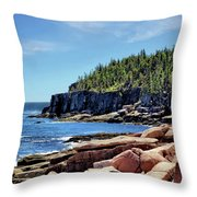 Coastline And Otter Cliff 3 Throw Pillow