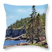 Coastline And Otter Cliff 4 Throw Pillow