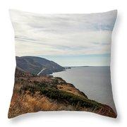 Coastline At Cape Breton Highlands National Park, Nova Scotia, C Throw Pillow