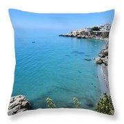 Coastline Of Nerja-spain Throw Pillow